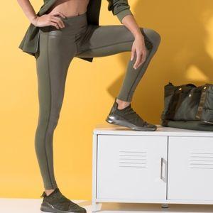 Shiny + Matte Olive Green Leggings   S